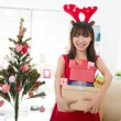 Chinese girls celebrating christmas — Stock Photo #17588321