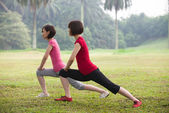 Asian woman workout outdoor — Stock Photo