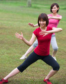 Asian girls tai chi outdoor , chinese women — Stock Photo
