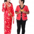 Chinese new year mother and daughter — Stock Photo
