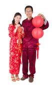Asian celebrating chinese new year — Stock Photo