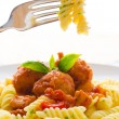 Fresh pasta with meat balls — Stock Photo #19206709