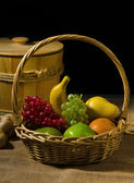 Fruits with isolated dark background — Stock Photo