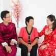 Chinese family celebrating lunar new year — Foto de Stock