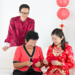 Chinese family celebrating lunar new year — 图库照片