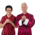 Gong xi fa cai senior chinese new year couple — Stock Photo #20935559
