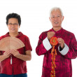 Senior chinese new year couple — Stock Photo