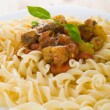 Stock Photo: Fusilli with mushroom sauce