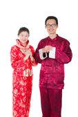 Young chinese new year couple — Stock Photo
