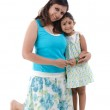 Happy looking indian mother and daughter — Stock Photo