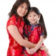 Chinese mother and daughter in traditional china dress isolated — Stock Photo