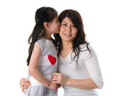 Korean mother and her daughter with isolated background during m — Stock Photo