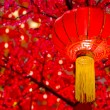 Stock Photo: Chinese lanterns with red background