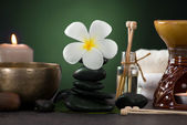 Tropical frangipani spa health treatment with aroma therapy and — Stock Photo