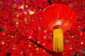 Chinese lanterns with red background — Stock Photo