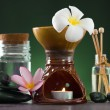 Tropical frangipani aroma therapy spa health treatment with  and - Stock Photo