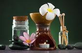 Tropiska frangipani aroma terapi spa hälsa behandling med och — Stockfoto