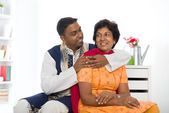 Indian family of mother and son with traditional punjab dress li — Stock Photo