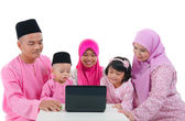 Malay family with traditional maalysian traditional clothes and — Stock Photo