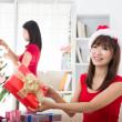 Korean girl friends during christmas celebration — Stock Photo