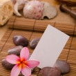 Tropical spa setup with frangipani flower hot rocks and massage — Stock Photo
