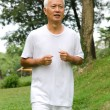 Chinese senior man jogging on a park - Photo