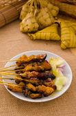 Satay , traditional roasted kebab meat skewers — Stock Photo