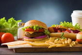 Fast food hamburger, hot dog menu with burger, french fries, to — Stock Photo