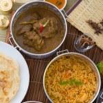 Biryani mutton rice with traditional background — Stock Photo #24770129