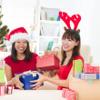 Chinese girl friends during a christmas celebration — Foto Stock