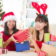 Chinese girl friends during a christmas celebration — Stock Photo #24770235
