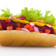 Hot Dog bacon with tomato , onions , lettuce, mustard and ketchu — Stock Photo