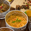 Biryani mutton rice with traditional background — Stock Photo #24865911
