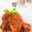 Curry chicken, indian cuisine with traditional food items on bac - Stock Photo