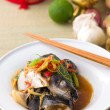 Stock Photo: Steam fish head soy sauce, patin steamed with chinese style soya