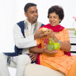 Punjabi family ,mother and son with traditional punjab dress — Stock Photo