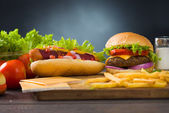 Cheese burger and hot dogs with plenty of fast foods ingredients on the background — Stock Photo