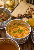 Biryani mutton rice with traditional background — Stock Photo