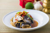 Steam fish head soy sauce, patin silver catfish steamed with chi — Stock Photo