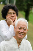 Chinese Asian senior couple at outdoor — Stock Photo