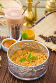 Indian Biryani mutton rice with traditional background — Stock Photo