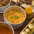 Biryani mutton rice papadam with traditional background — Stock Photo #26599195