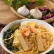 Prawn noodles also known as har mee, famous food in Malaysia — Stock Photo