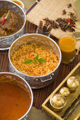 Biryani mutton rice papadam with traditional background — Stock Photo