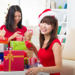 Chinese friends during a christmas celebration — 图库照片 #26915871