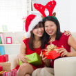 Chinese christmas celebration, two female friends — Foto de Stock