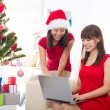 Chinese girls during christmas celebration — Stock Photo #26915923