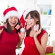 Stock Photo: Chinese girls during christmas celebration