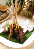 Asian Cuisine beef Satay with rice and traditional setup — Stock Photo