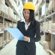 Stock Photo: Indian woman doing stock tick on warehouse